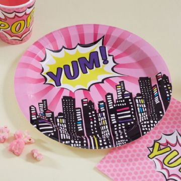 Pink Pop Art Superhero Paper Plates - pack of 8